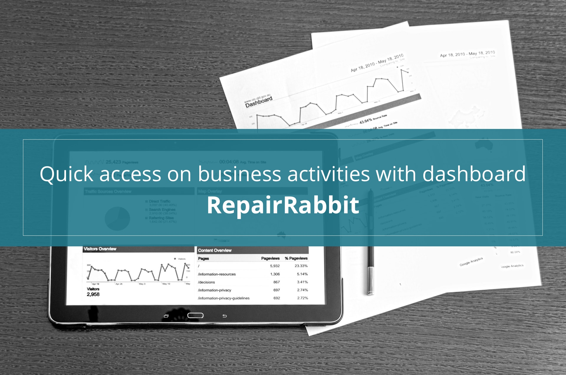 quick access on business activities with RepairRabbit dashboard